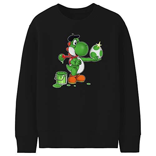 Okiwoki Pull Enfant Noir Parodie Yoshi - Yoshi - Peinture fraîche; (Sweatshirt de qualité Premium de Taille 3-4 Ans - imprimé en France)