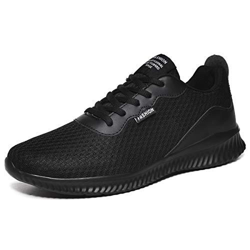 Lily Chan Sneakers für Männer Leichte atmungsaktive Mesh-Freizeitschuhe für Männer Slip on (45 EU, Schwarz)