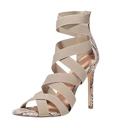 Damen Sandalen Sandalette Schlangenhautmuster Pumps High Heels mit elastischen Knöchelriemen Kleid Schuhe Abendschuhe Peep Toe Sommer Outdoor Sandals Freizeitschuhe(1-Beige/Beige,37)