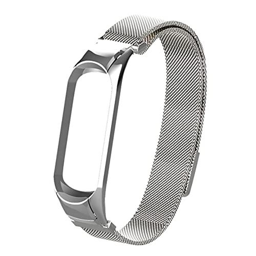 Pulsera de acero inoxidable con correa de pulsera milanesa para Miband 5 Pulseira para Xiaomi Mi Band 5 4 3 correas-Plata, para Xiaomi 3