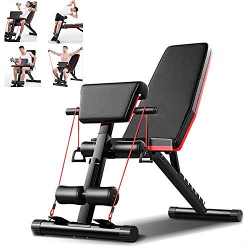 HT&PJ Banco de musculación multifuncional 4 en 1, plegable, ángulo ajustable, equipo de fitness en casa, entrenamiento de cuerpo entero, color negro