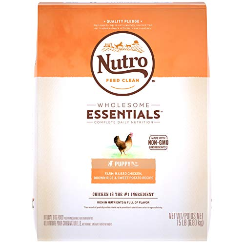 NUTRO WHOLESOME ESSENTIALS Natural Dry Dog Puppy Food Farm-Raised Chicken, Brown Rice & Sweet Potato Recipe, 15 lb. Bag