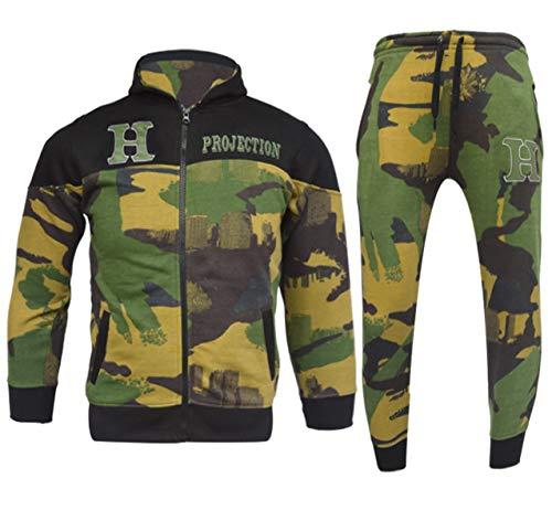 GUBA® Jungen Trainingsanzug Camouflage HNL Hoodie und Hose Jogginganzug Sportbekleidung 5-13 Jahre Gr. 13 Jahre, Grün Camo 919