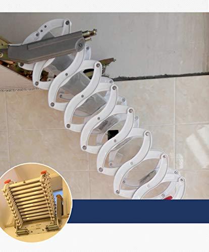Z6 Aluminum attic Ladder Invisible Folding Staircase Multi-Function loft Ladder 3.28ft-9.84ft Custom (Pure White,Carbon Steel)