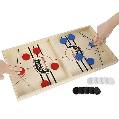 Jeu de société famille en bois, Jeu de plateau bataille slingpuck rapide, Jeu table hockey sur glace, Coffret jeux de société famille, Catapult board game pour enfants adultes (Grand échiquier)