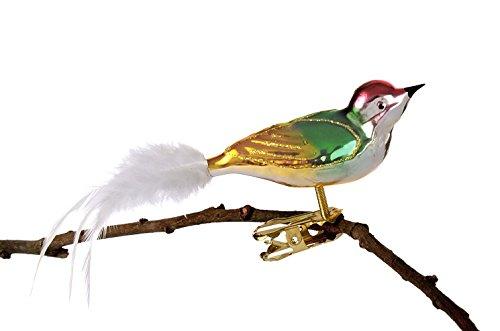 Thüringer Weihnacht 52-116 - Statuetta decorativa a forma di uccellino in vetro, con testa ritorta, multicolore