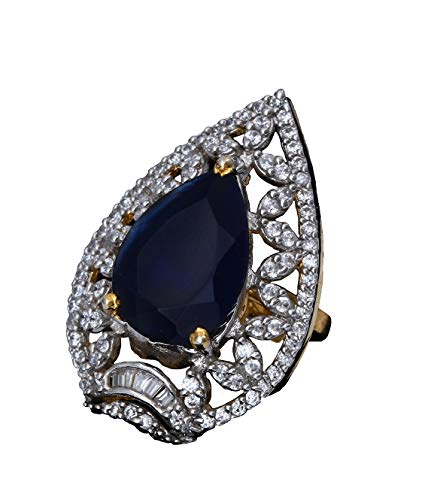 JewelryGift Unique Design Clutster Style Ring Pear Blue Sapphire,Cubic Zircon Blue-White Intricately Handcrafted in 14K Gold Plated Fashion Designer Jewellery for Girls Ladies Women MVR 39-Blue
