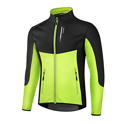 INBIKE Giacca da Ciclismo Invernali da Uomo Caldo Antivento Impermeabile con 2 Tasche per MTB Bici Running Sport Outdoor e Vita Quotidiana(L,Verde)