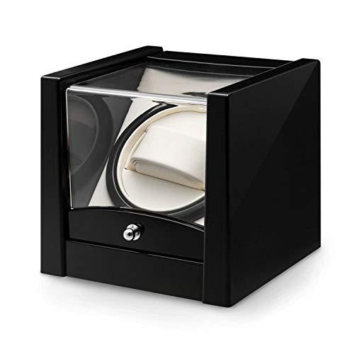 Klarstein Cannes - Estuche Giratorio para Relojes, Movimiento automático, Motor silencioso, Movimiento rotativo, Bobina de 2160 giros/día, Antracita