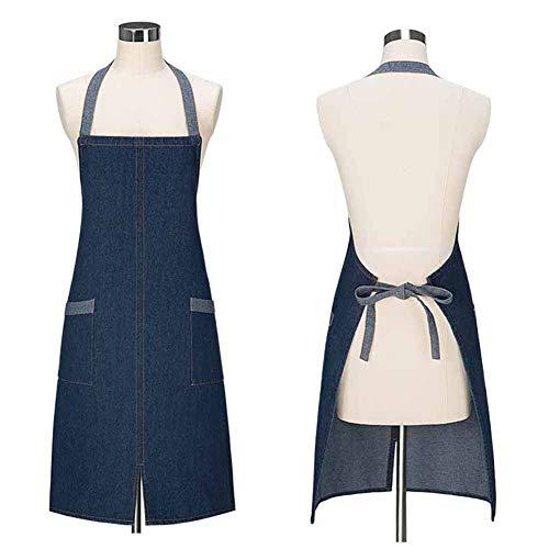 Denim schort met zakken, verstelbare kok schort ober apron, Unisex, twee kleuren, 29,5 * 23,6 inch
