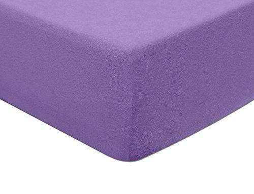 70x140, Violett MODHAUS Spannbettlaken Betttuch Frottee Bettlaken Violett