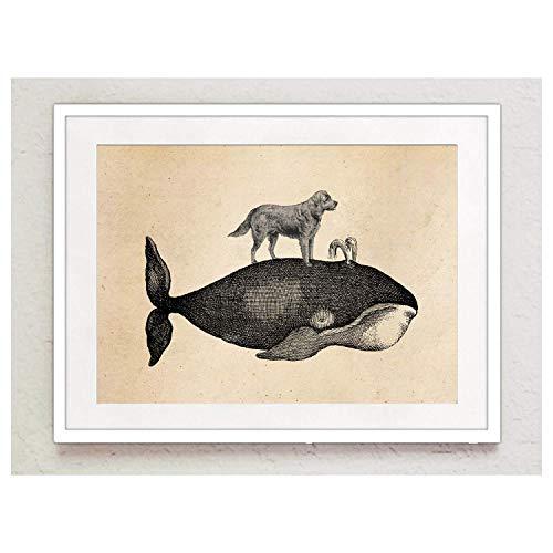 Poster Bild Großer Wal und Labrador Waterboys Labbi Matrose maritim Vintage A4 ohne Rahmen