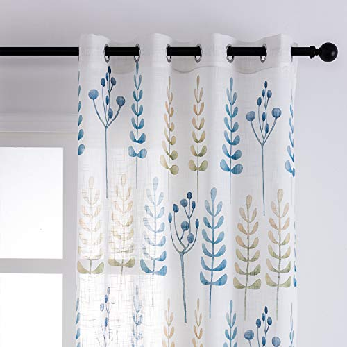 TERLYTEX Faux Linen Semi Sheer Curtains - Ash Tree Leaf Print Grommet White Sheer Curtains 63 Inches Long for Bedroom, Soft Touch Fabric Privacy Curtains, 52 x 63 Inch, 2 Panels, Blue and Yellow