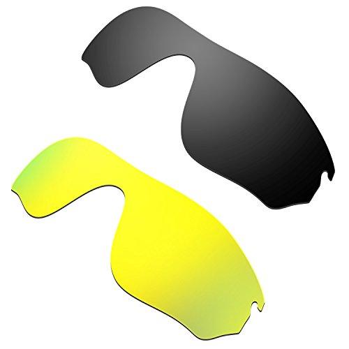 HKUCO Mens Replacement Lenses for Oakley RadarLock Pitch Black/24K Gold Sunglasses