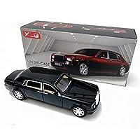 シミュレーションファントムカーモデル装飾音と光のプルバックの合金の車のおもちゃのモデル車の装飾午前1時24分、比例はモデルキットスクーター、音と光のおもちゃで子どもと男の子のためのおもちゃをダイカスト (Color : 黒)