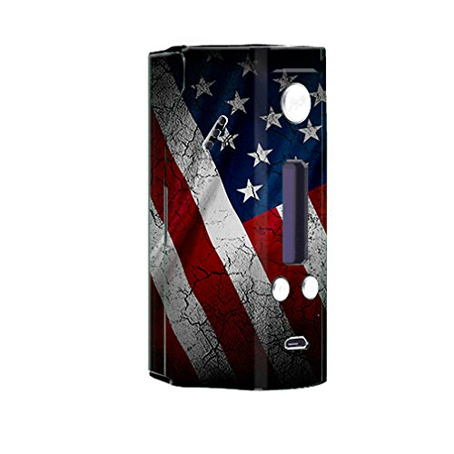 Skin Decal Vinyl Wrap for Wisemec Reuleaux rx200 Vape Mod Box / American Flag distressed