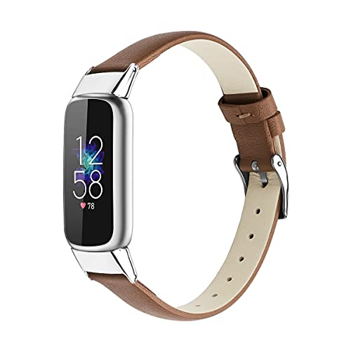 KangPlus Correa de reloj compatible con Fitbit Luxe, ligera correa de piel deportiva de repuesto delgada y suave, cómodas pulseras de 5.5 a 8 pulgadas para mujeres y niñas, color marrón