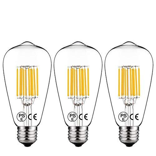 Lampadine ST64 E27 10W LED Filamento [3 Pacco], LuxVista ST64 Luce 2700K Bianco Calda Vintage Decorativa Retro Stile con Vite E27 1000lm Equivalente a 100W Edison Incandescente - Non Dimmerabile