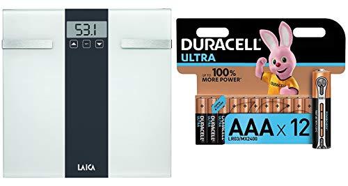 Laica Pesapersone Elettronica con calcolo della Composizione corporea Bilancia Body Composition, Bianco/Grigio, 180 kg, 2 unità + Pacco Pile