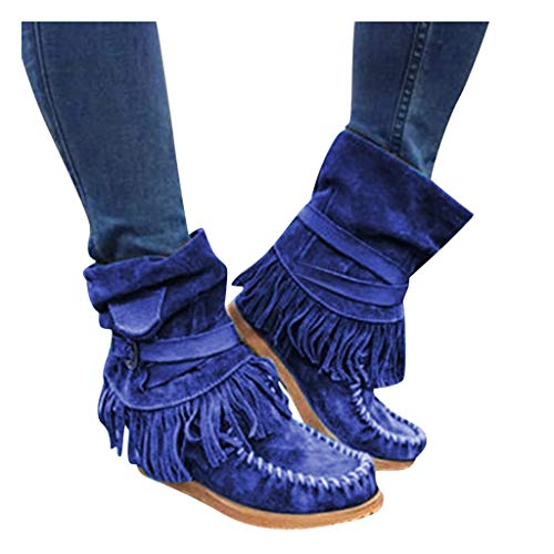 Toimothcn Womens Cowboy Bootie Round Toe Low Heel Faux Suede Western Fringe Mid-Calf Boot Shoes(Blue,10)
