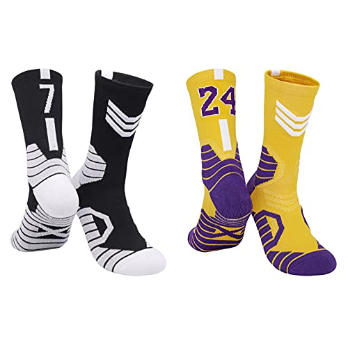 BERYCH Two Pairs of Grown-Up Star Basketball Socks, Sports Socks,...