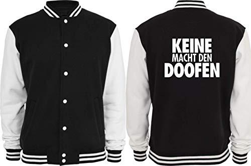Textilhandel Hering Collegejacke - Keine Macht den Doofen negro/blanco M