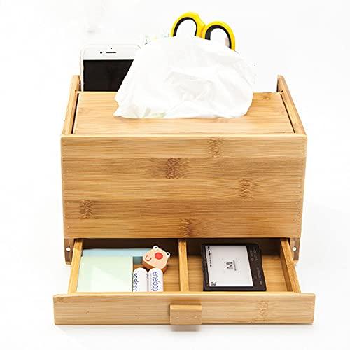 Caja de tejido multifunción de escritorio de tejido de bambú rectangular, organizador de escritorio con cajones, para baño/sala de estar/dormitorio Tocador/Estante de noche / de escritorio / oficina