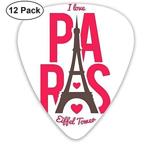 Amo las púas de guitarra de París con 12 púas de guitarra