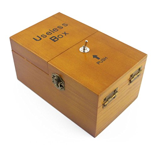 Willcomes Wooden Turns Itself Off Useless Box Leave Me Alone Box Perpetual Machine for Geek Gifts or Desk Toys