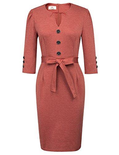 GRACE KARIN Etuikleider Damen festlich Hochzeit schwarz Stretchkleid rost Vintage Kleider 2XL CL407-3