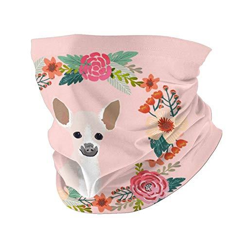 Ccycjasdkfewl Chihuahua corona floral perro variedad toalla cara bolsa interior, polaina cuello, cubierta de la cara bufanda protección cuello