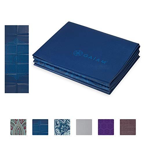 Gaiam Yoga Mat Folding Travel Fitness & Exercise Mat | Foldable Yoga Mat for All Types of Yoga, Pilates & Floor Workouts, Blue Sundial, 2mm