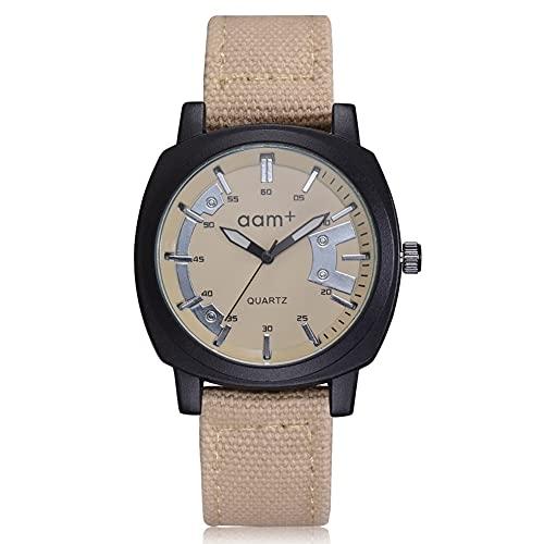 Reloj de cuarzo - Personalidad banda de lona Reloj de cuarzo Color sólido Esfera redonda grande Reloj masculino (Beige)