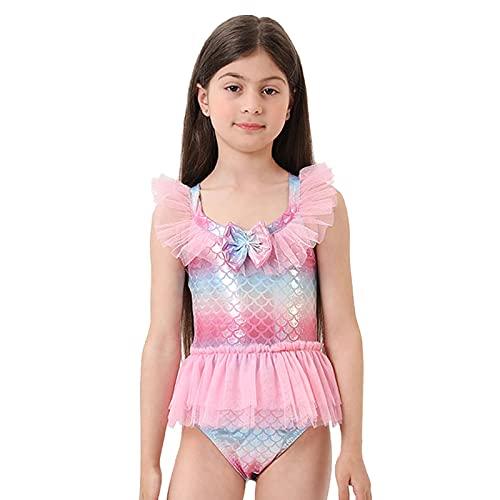 KASSAE Sirenetta Costume da Bagno Ragazze Un Pezzo, Costume Intero Bambina Gonna Tutu Tulle Piscina Spiaggia Vacanze, Regalo per Bambina