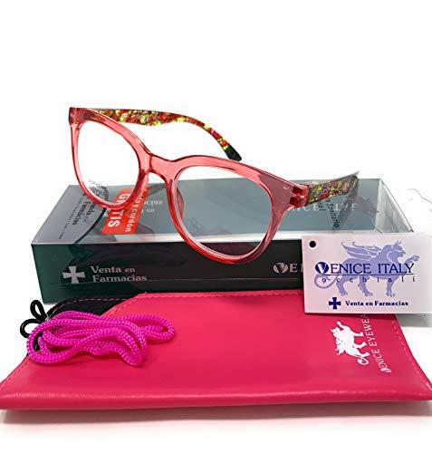Gafas de lectura, presbicia, vista cansada, Diseño en 3 Colores. VENICE KATERINE - Dioptrías: 1 a 3,5 (Rojo, +1,50)