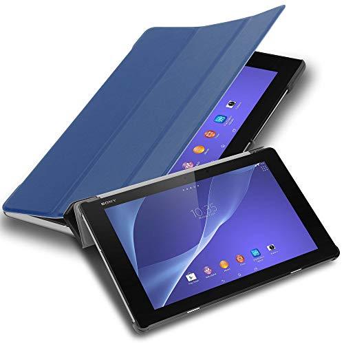Cadorabo Funda Tableta para Sony Xperia Tablet Z2 (10.1' Zoll) SGP521 in Azul Oscuro Jersey – Cubierta Proteccíon Bien Fina en Cuero Artificial en Estilo Libro con Auto Wake Up e Función de Suporte