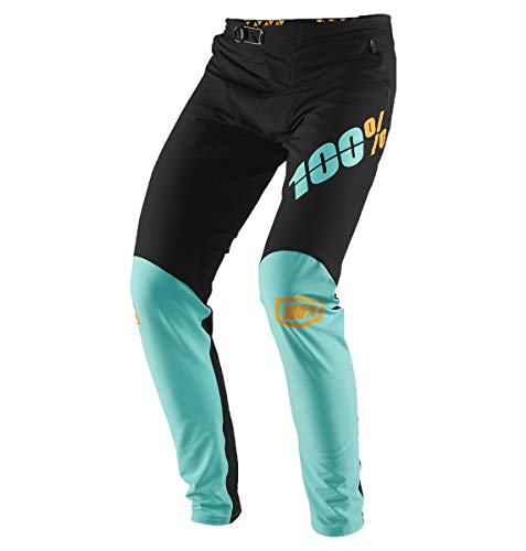 100% Percent Men's R-Core-X DH Mountain Bike Pants - 43002 (Black/Cyan - 34)