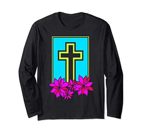 Christian Christ Jesus Poinsettias Cross Religion Religious Long Sleeve T-Shirt