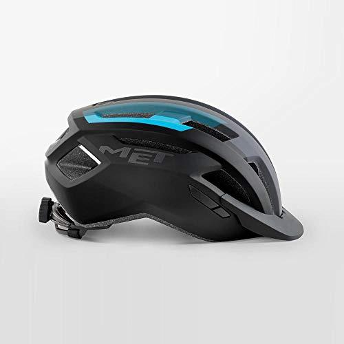 MET Allroad Bicycle Safety Helmet Removable Visor Size M 56/58cm - Matt Black/Cyan