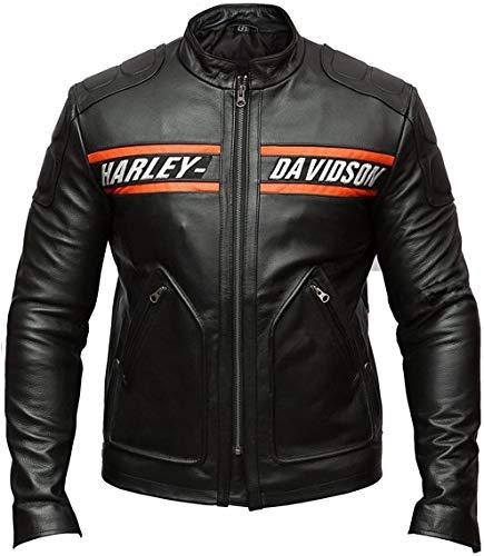 DeColure Goldberg Harley Davidson - Chaqueta de piel para hombre, con protección de hombros y codos, ajuste personalizado