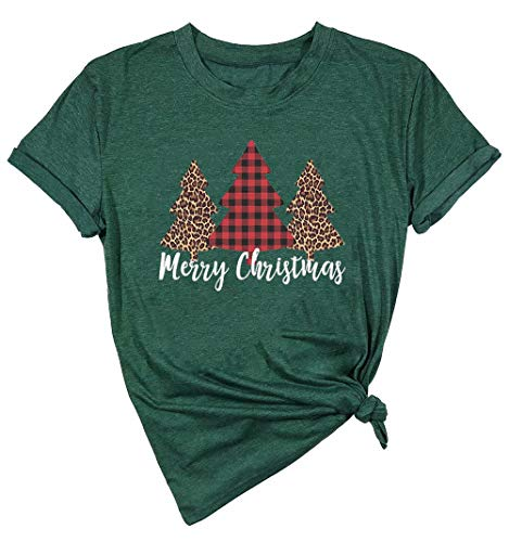 Merry Christmas Tree Print T-Shirt Women Leopard Plaid Casual Short Sleeve Tee Tops Blouse (Medium, Green)