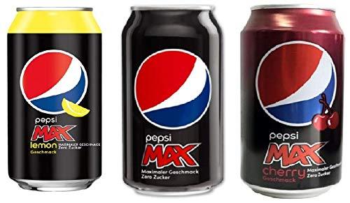 Pepsi: 1 x 24 Max Lemon, 1 x 24 Max, 1 x 24 Max Cherry 0,33 L (72 Einweg-Dosen gesamt) Inkl. Gratis FiveStar Kugelschreiber