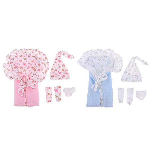 F Fityle 2 Kit de Saco de Dormir con Mini Ropa de Vestir para Muñeca Bebé 26-28cm