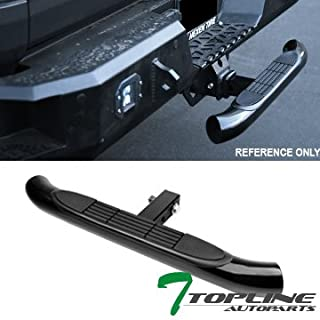 Topline Autopart Universal 3 Inch Black Trailer Tow Mount Rear Hitch Step Bar Bumper Guard For 2