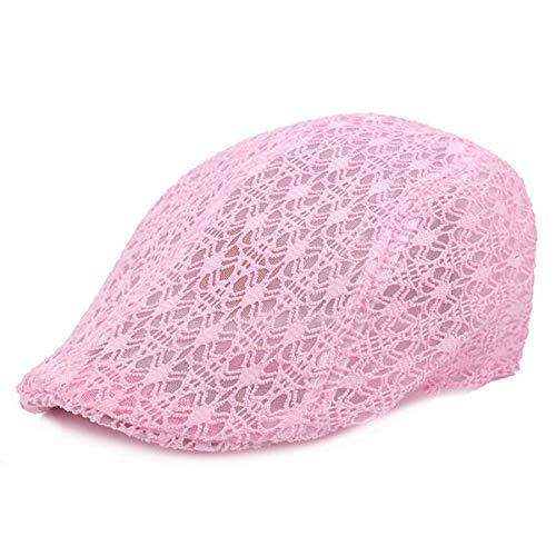 weichuang Sombreros y gorras de malla de encaje sombrero de verano transpirable parasol ajustable gorra de taxi para mujer (color: rosa)