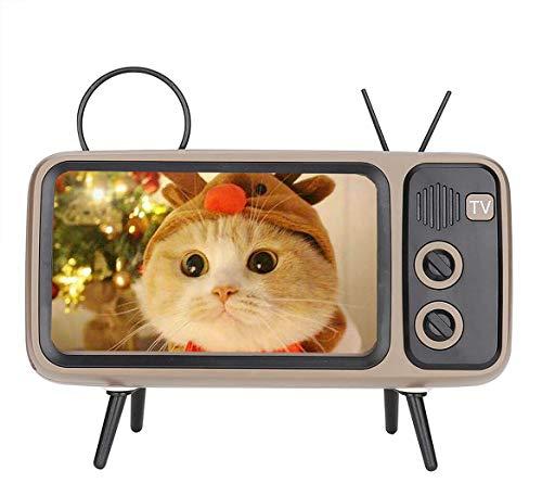 Handy Ständer, Turn Your Phone into a Retro TV, Retro TV-Shaped Bluetooth Speaker, Retro TV-förmiger Bluetooth-Lautsprecher mit Ständer für unter 6 Zoll Mobiltelefone