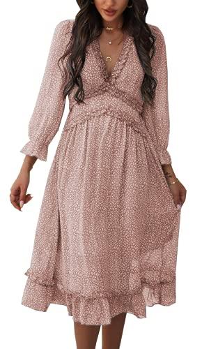 ZIYYOOHY Damen Lange Kleid Chiffon Rüschen mit Tief V-Ausschnitt Blumendruck Sommerkleid Cocktailkleid Partykleid Maxikleid Strandkleid Blusenkleid (M, 3016 Rosa)