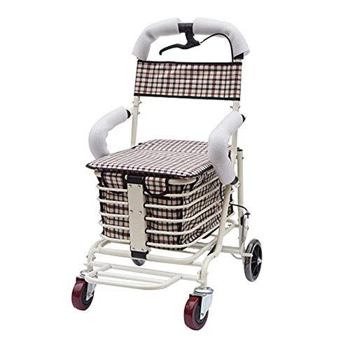 ZHENAO Compras de Edad, el Viejo Tranvía, Compras, Viajes Viejo, Walker, Plegable de Peso Ligero, de Conducción Ajustable, Cuidado de la Salud pesado