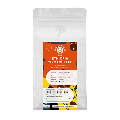 Ethiopia Äthiopien Yirgacheffe 1KG - Single Origin Geröstete Ganze Kaffeebohnen, Perfekte für Cafés, Unternehmen, Geschäfte und Privatanwender (Kaffeebohnen 1 kg) - Coffee World