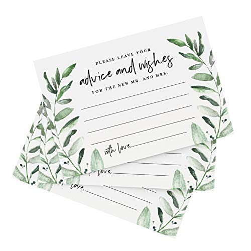 Bliss Collections Greenery Advice and Wishes Cards for The Bride and Groom, Perfect for: Bridal Shower or Wedding, 4x6 Cards (Pack of 50)
